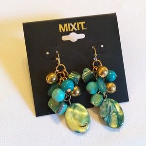 NWT MixIt Earrings Dangles Blue-Green Beads Gold